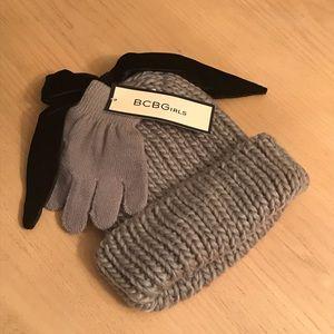 NWT Girls Grey & Black Glove & Hat Set